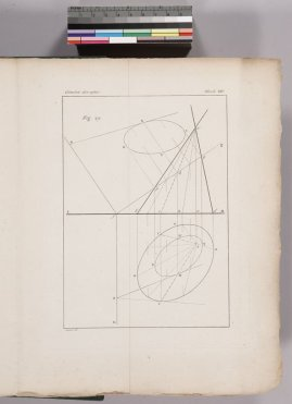A page from Monge's book (plate 14) illustrating projections obtained by cutting a cone with an oblique plane.